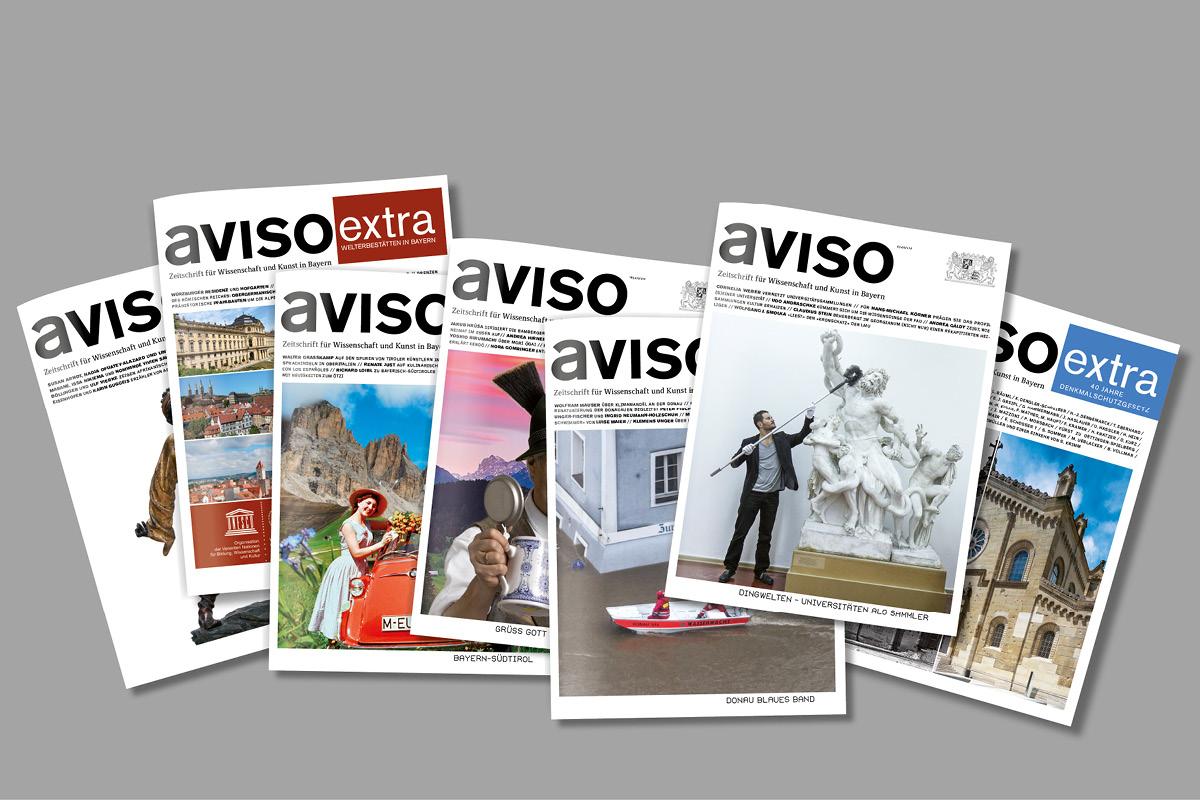 Design der Titelseiten für die Kulturzeitschrift aviso.