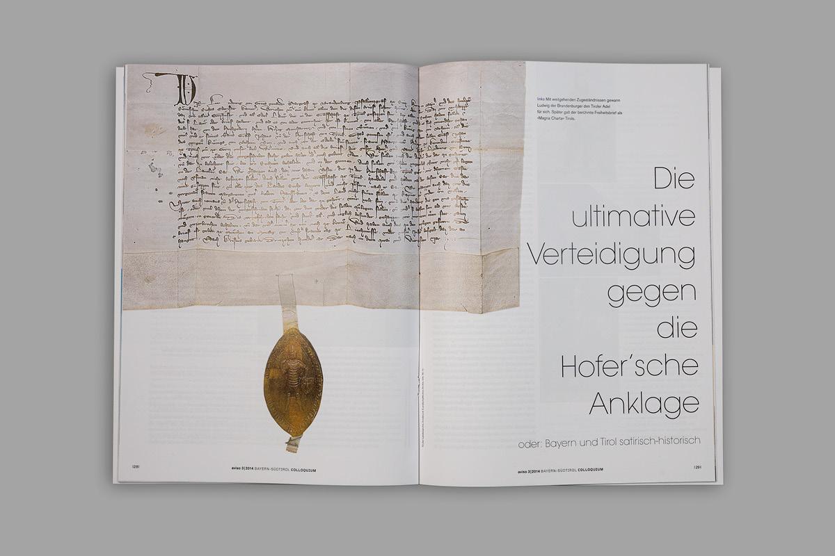Kreative Gestaltung einer Doppelseite der Kulturzeitschrift aviso.