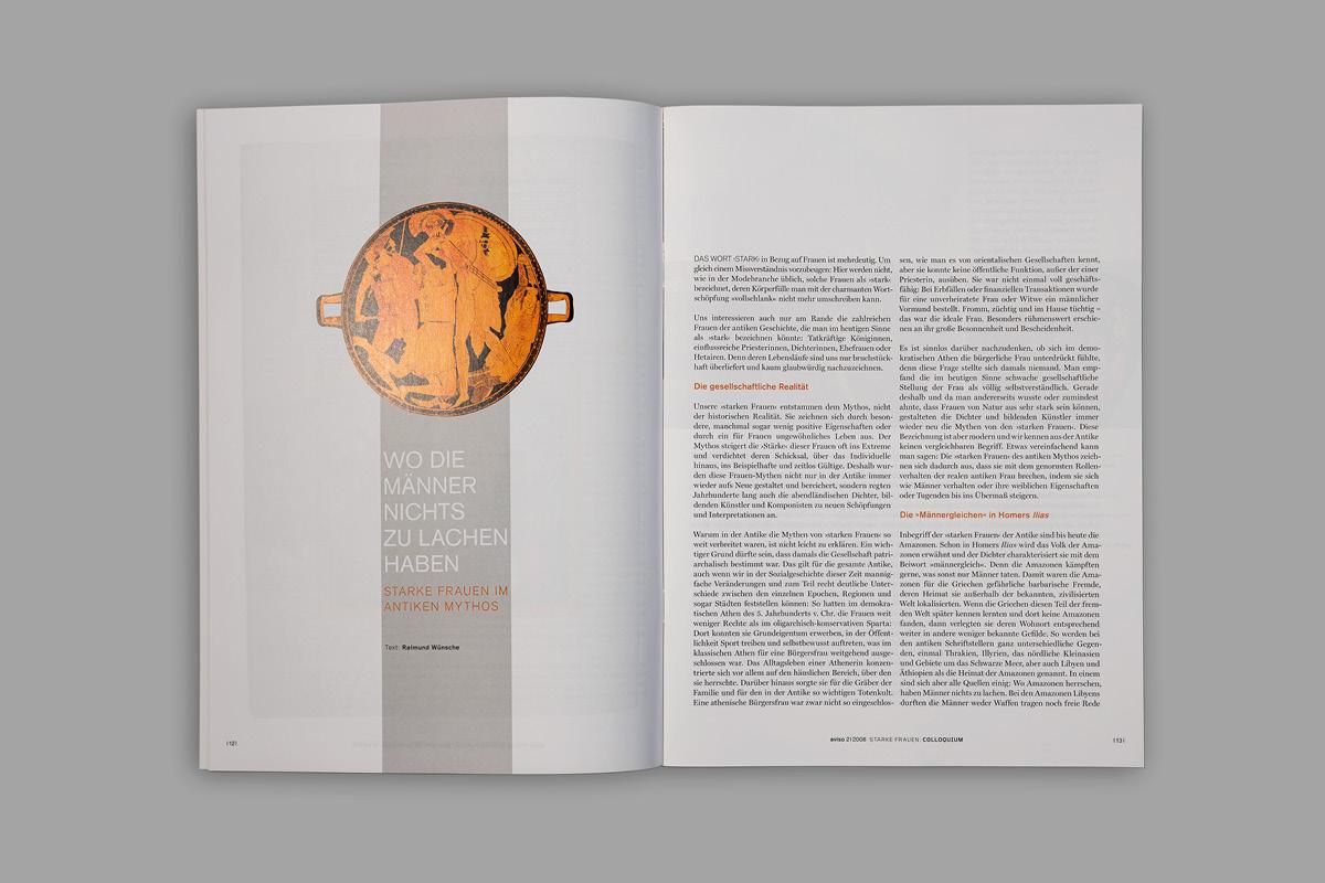 Editorial Design einer Doppelseite für die Zeitschrift aviso.