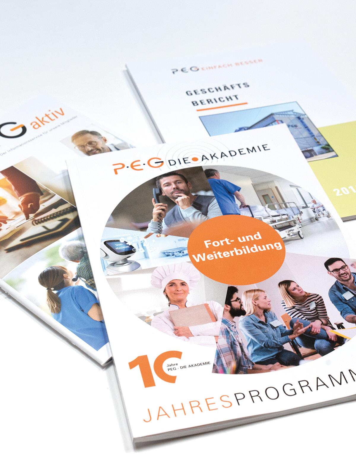 Design der Titelseiten für das Jahresprogramm, den Geschäftsbericht und das PEG aktiv.