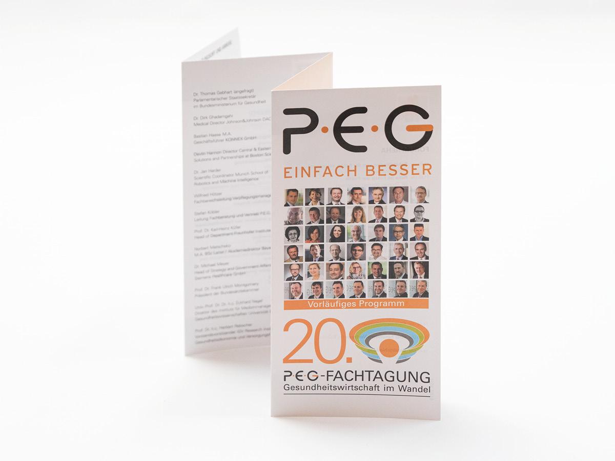 Flyer in Leporellofalz für die PEG-Fachtagung.