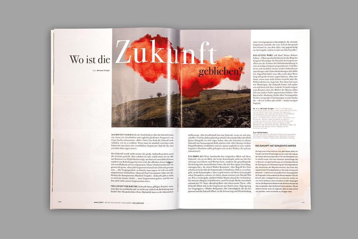 Moderne Doppelseite für das Magazin für Kunst und Wissenschaft in Bayern.