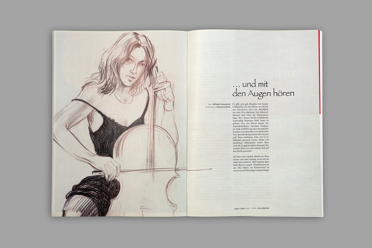 Layout der Innenseiten für die Kunstzeitschrift aviso mit Illustrationen.