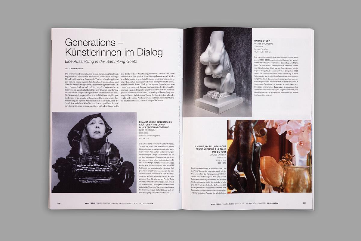 Spannende Komposition einer Magazininnenseite der Zeitschrift aviso.