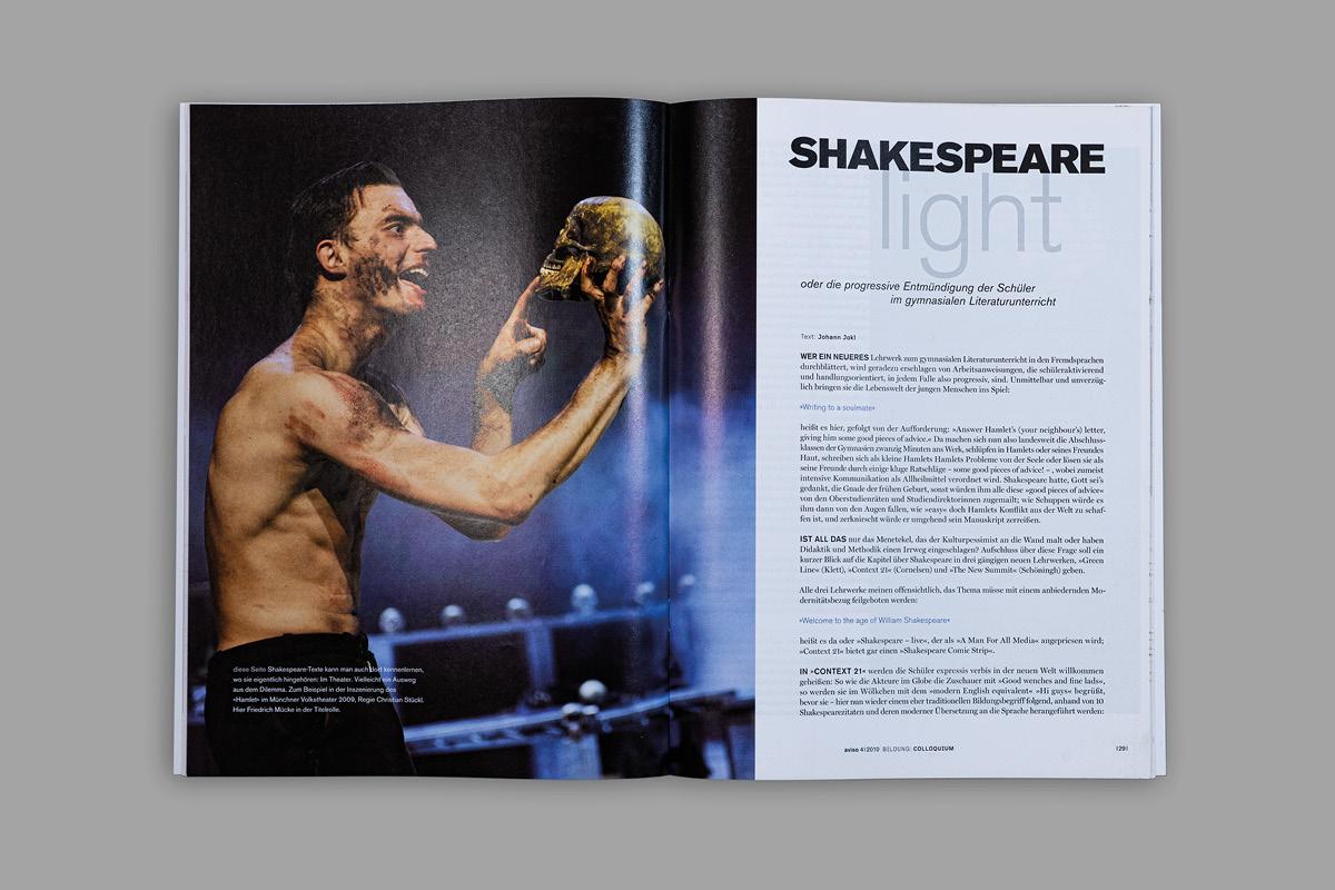 Design einer Seite der Zeitschrift aviso - Magazin für Wissenschaft und Kunst in Bayern.