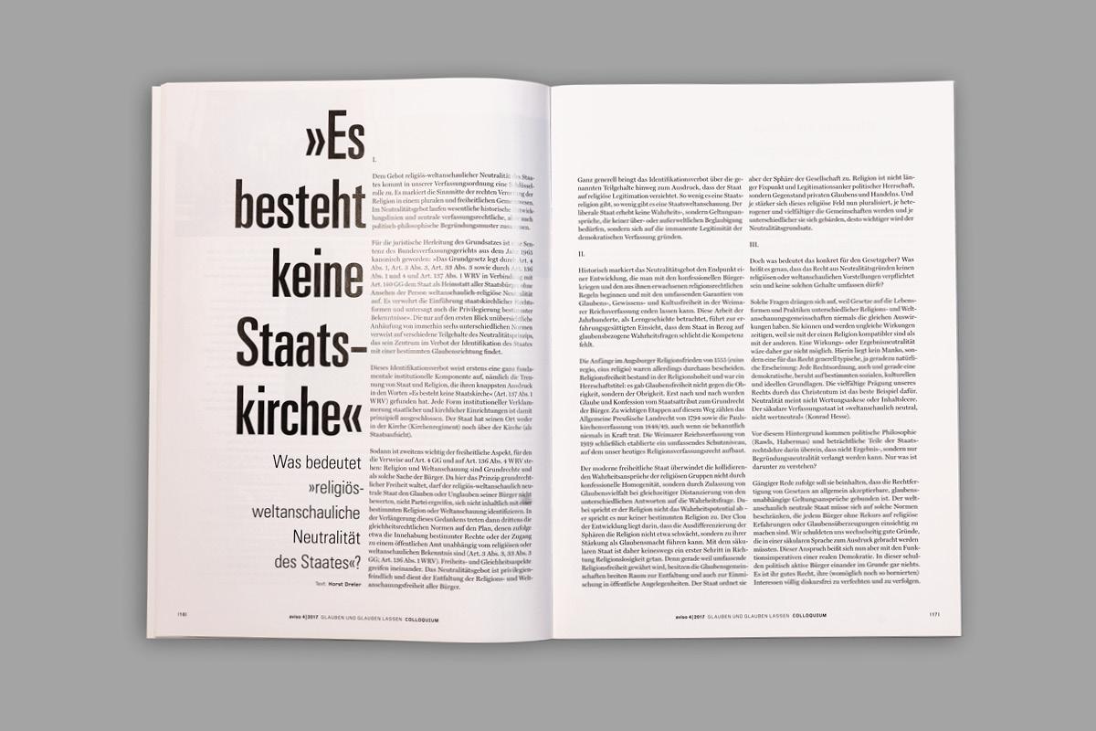 Gestaltung einer Innenseite für das Magazin aviso mit typografischen Mitteln.