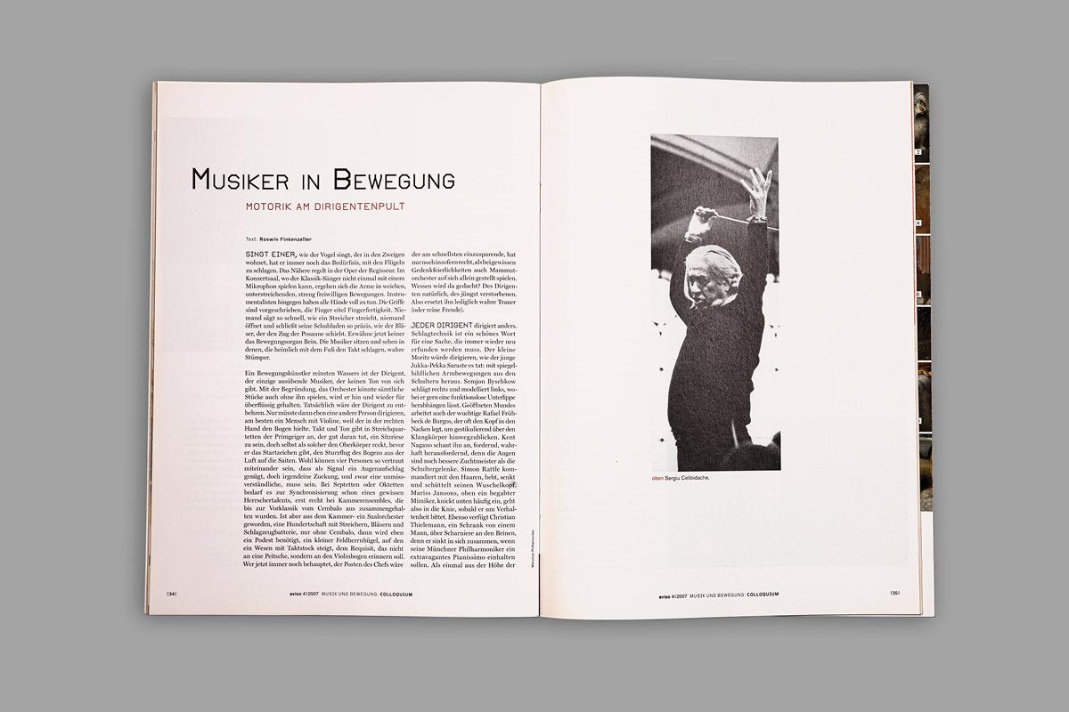 Design einer Innenseite der der Kunstzeitschrift aviso.