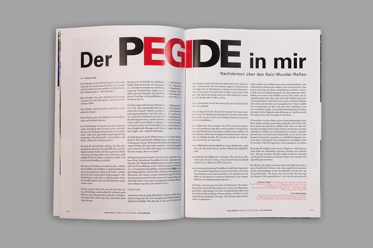 Gestaltung einer typografischen Komposition für eine Innenseite der Zeitschrift aviso.