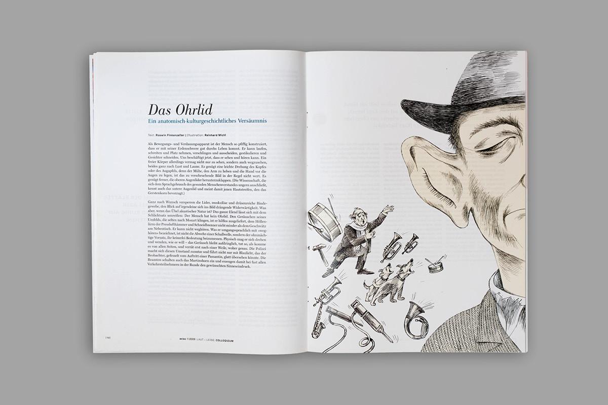 Layout einer Innenseite der Zeitschrift aviso mit einer Illustration.
