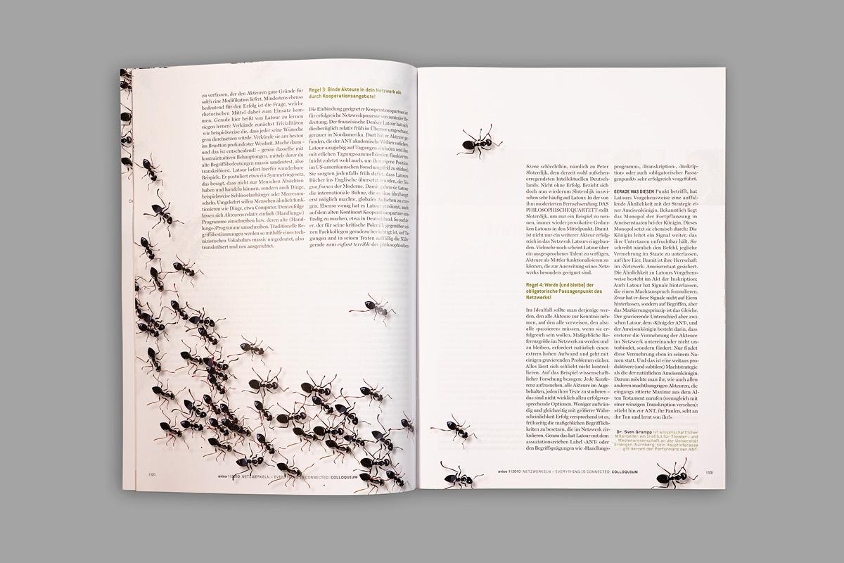 Gestaltung einer Doppelseite für die Kulturzeitschrift aviso als Hingucker.