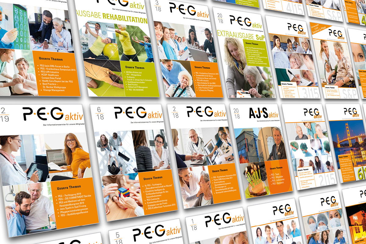 Cover Design für Zeitschriften der PEG in München.