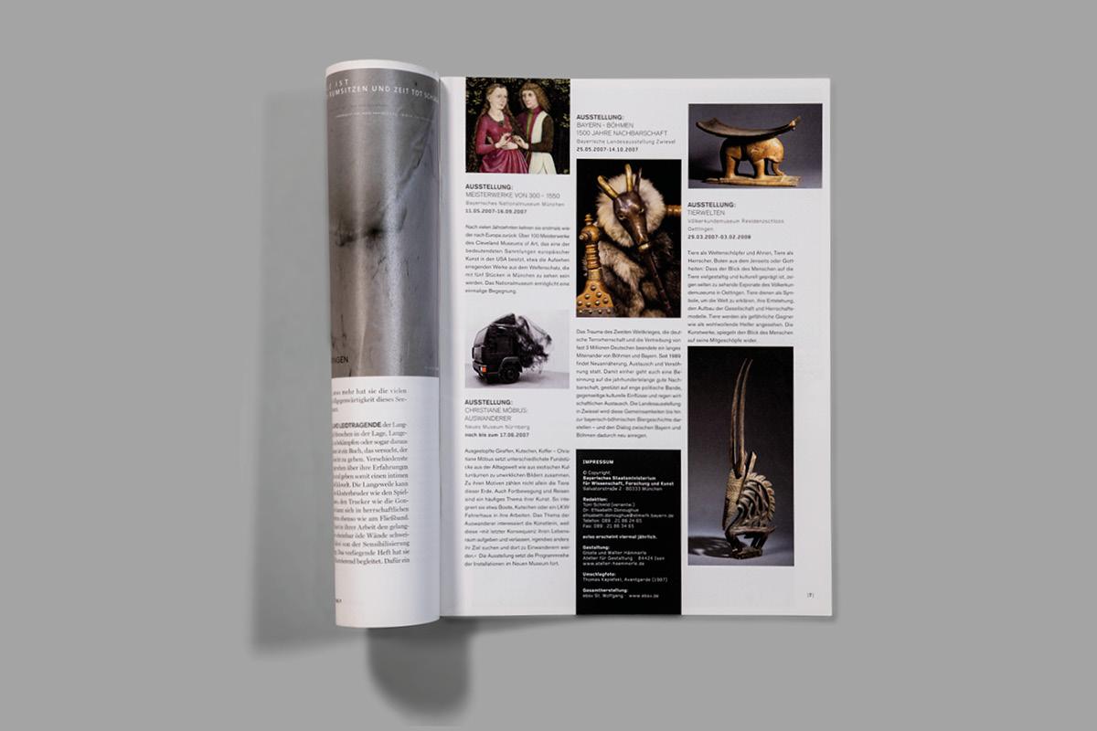 Design der Seite Avisiert in dem Magazin für Wissenschaft und Kunst in Bayern.