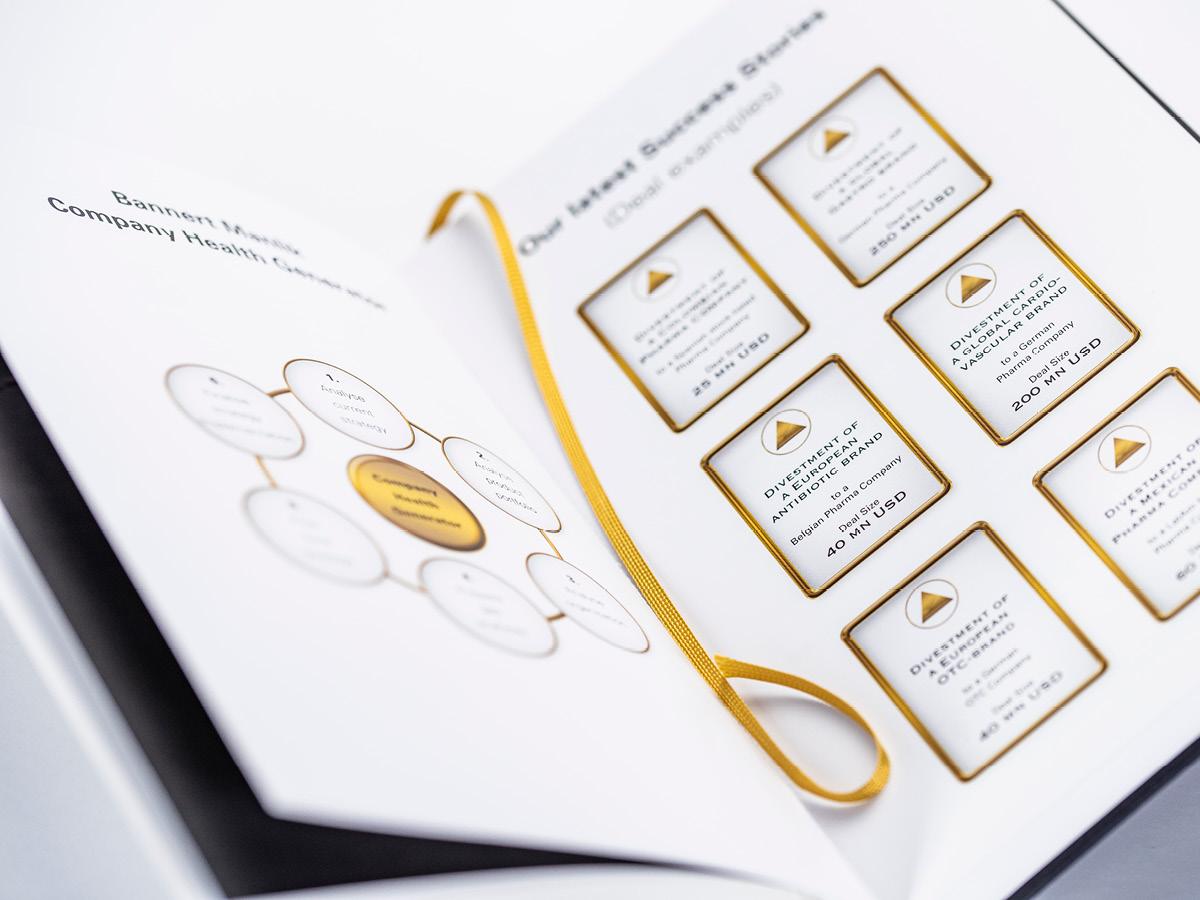 Innenseite einem Notizbuch mit Infografiken für Bannert Manlik Consultants.