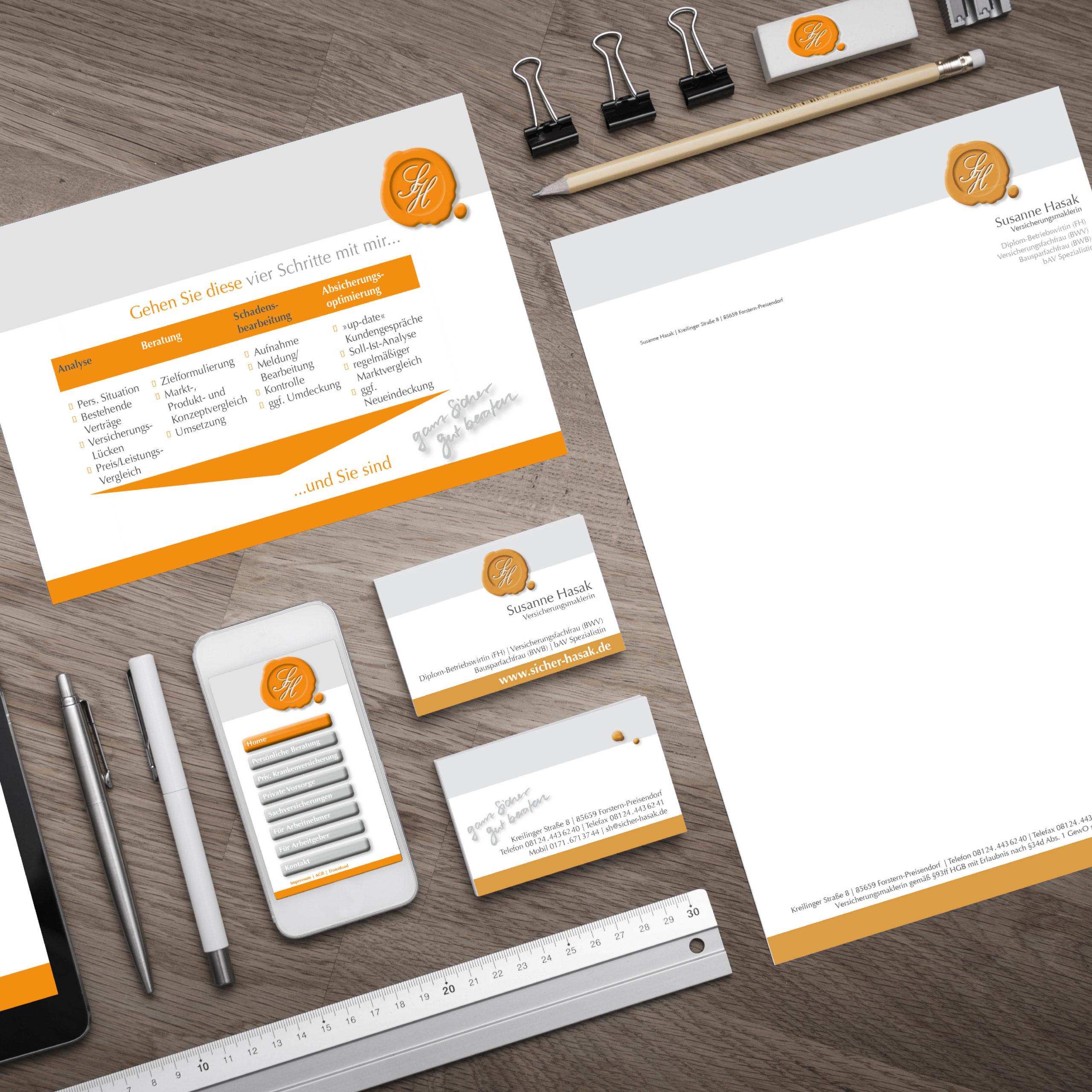 Gestaltung einer Geschäftsausstattung für eine Versicherungsmaklerin