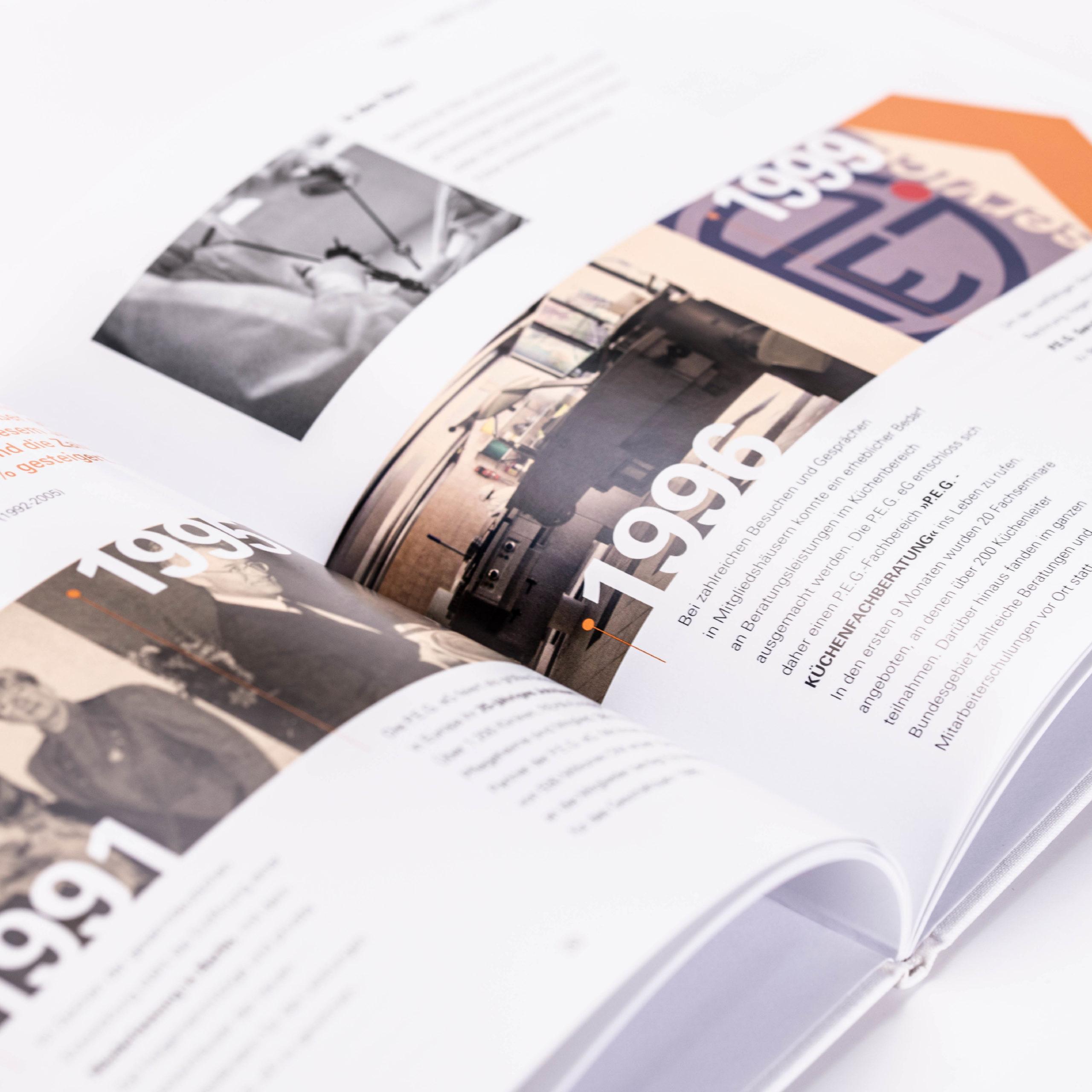 Design eines Buches für das 50-Jährige Jubiläum der PEG
