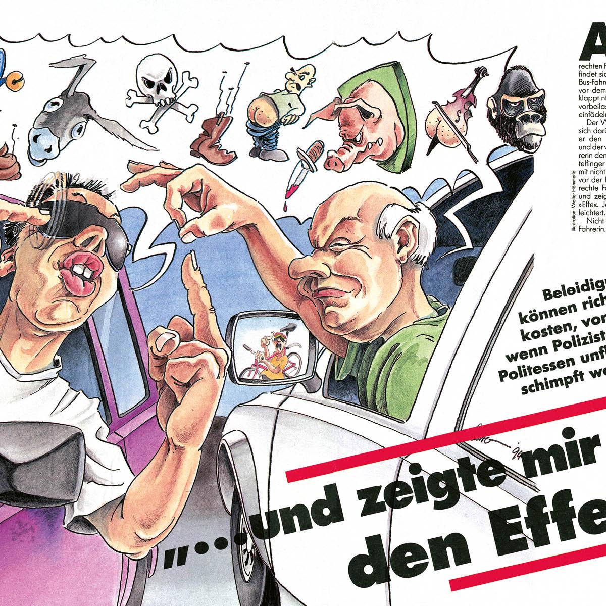 Illustration einer Karikatur für das ADAC Kundenmagazin